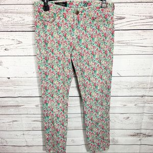 J Crew Floral Toothpick Skinny Ankle Jeans 27